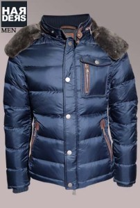 Handstich-Daune-Jacke-Dave-Blau-Leder-Kapuze-Harders-24-Online-Shop-Store-Fashion-Designer-Mode-Damen-Herren-Men-Women-Fall-Herbst-Winter-2014
